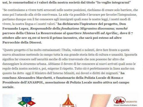 IO VOGLIO INTEGRARMI, progetto ANASPOL-DIOCESI DI ALBANO, al via il 7 ottobre