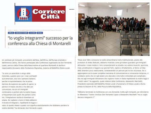 Conferenza sull'immigrazione ad Aprilia – 07/10/2017 – Rassegna Stampa