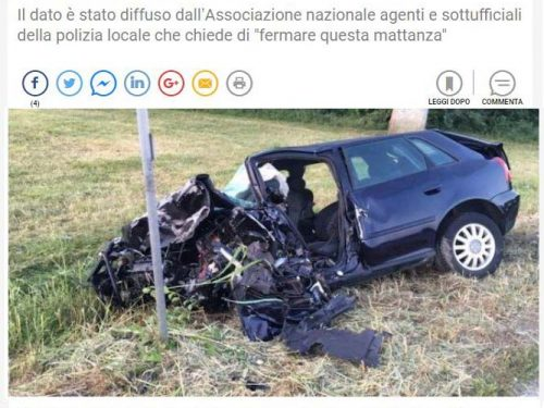 INCIDENTI STRADALI – LA DENUNCIA IN TV