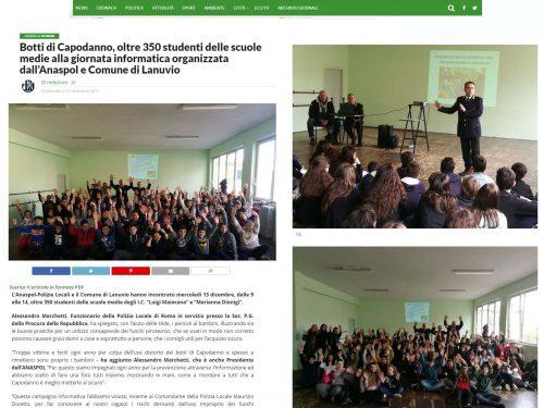 Botti di Capodanno – La Rassegna stampa della Conferenza a Lanuvio