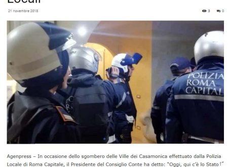 CASAMONICA: LO STATO C'ERA ? NON DIMENTICHI LA POLIZIA LOCALE