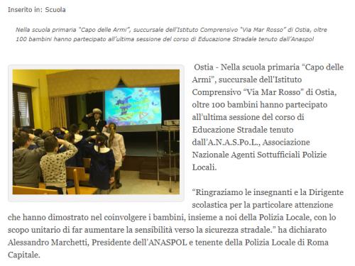 Corso di educazione stradale in una scuola elementare di Roma