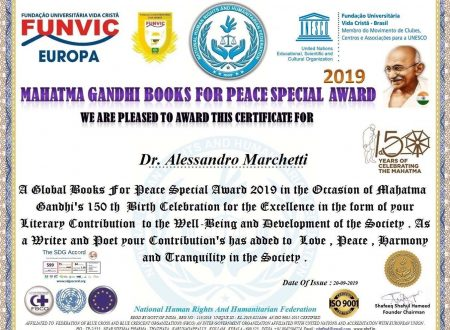 Premio Mahatma Gandhi, quale co-fondatore del Books for Peace