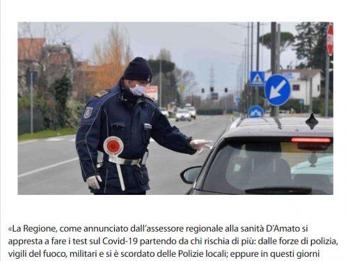 Test Covid alle Forze dell'Ordine, ma la Regione dimentica le Polizie Locali