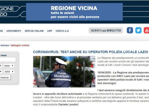 Dopo la protesta la Regione Lazio ci ripensa: test anti-covid anche per i poliziotti locali