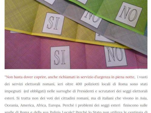 Referendum, tutto sulle spalle della P.L. di Roma