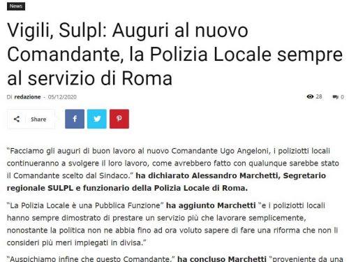 SULPL Roma: auguri al nuovo Comandante